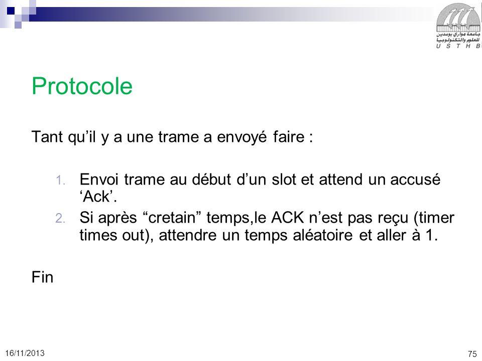 75 16/11/2013 Protocole Tant quil y a une trame a envoyé faire : 1. Envoi trame au début dun slot et attend un accusé Ack. 2. Si après cretain temps,l