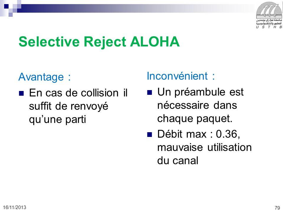 79 16/11/2013 Selective Reject ALOHA Avantage : En cas de collision il suffit de renvoyé quune parti Inconvénient : Un préambule est nécessaire dans c