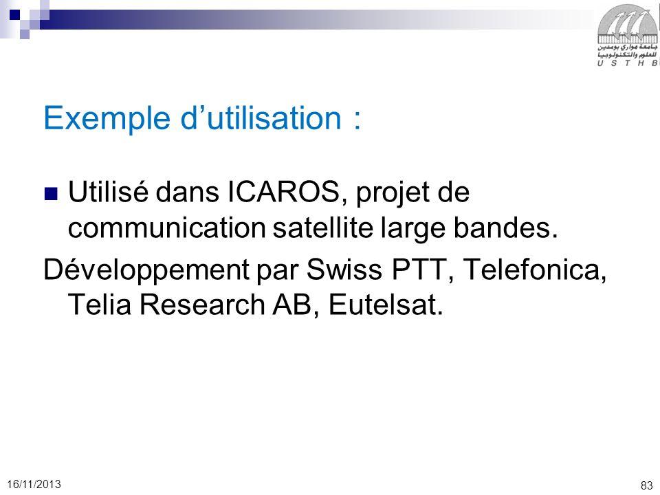 83 16/11/2013 Exemple dutilisation : Utilisé dans ICAROS, projet de communication satellite large bandes. Développement par Swiss PTT, Telefonica, Tel
