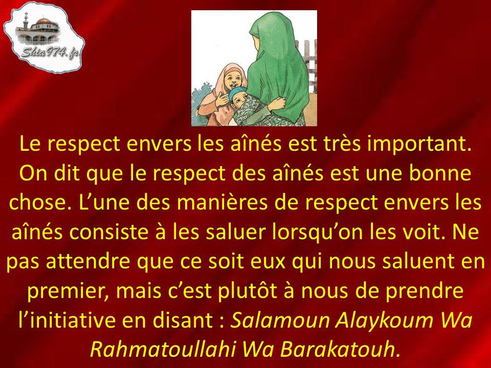 Le respect envers les aînés est très important. On dit que le respect des aînés est une bonne chose. Lune des manières de respect envers les aînés con