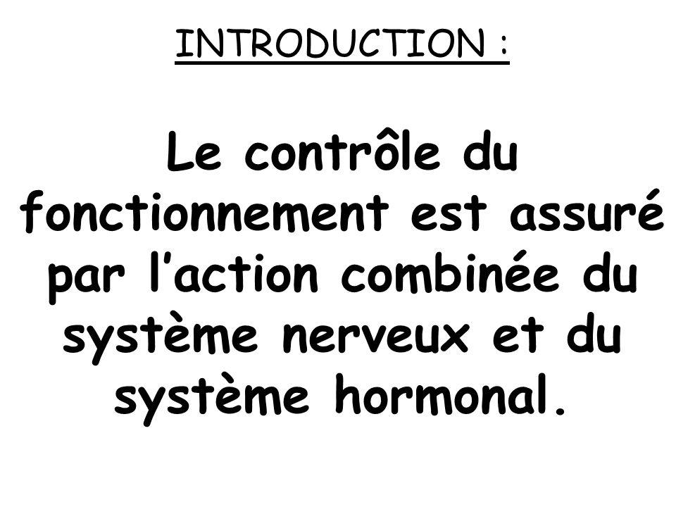 INTRODUCTION : Les différents systèmes qui assurent le contrôle et la coordination de toutes les fonctions sont organisés sur un même schéma général.
