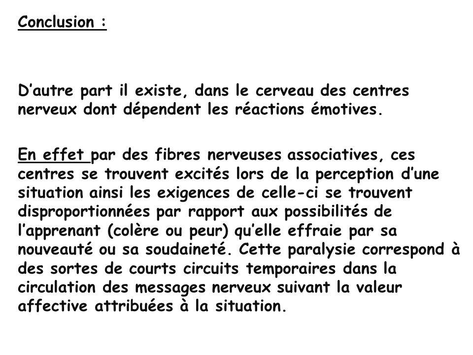 Conclusion : Le système nerveux hautement complexe, assure lefficacité de laction quun sujet se propose dentreprendre.