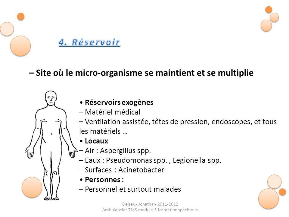 Delsaux Jonathan 2011-2012 Ambulancier TMS module 3 formation spécifique – Site où le micro-organisme se maintient et se multiplie Réservoirs exogènes
