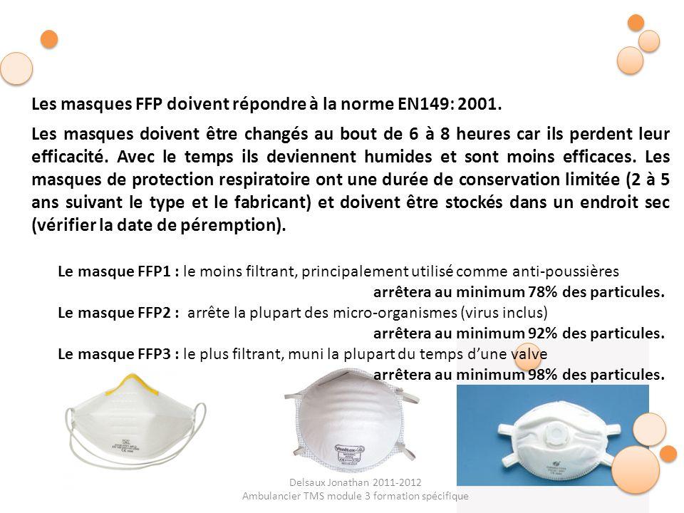 Delsaux Jonathan 2011-2012 Ambulancier TMS module 3 formation spécifique Le masque FFP1 : le moins filtrant, principalement utilisé comme anti-poussiè