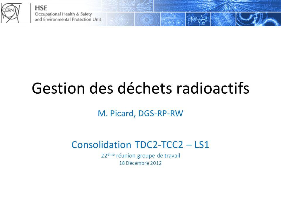 Gestion des déchets radioactifs M. Picard, DGS-RP-RW Consolidation TDC2-TCC2 – LS1 22 ème réunion groupe de travail 18 Décembre 2012