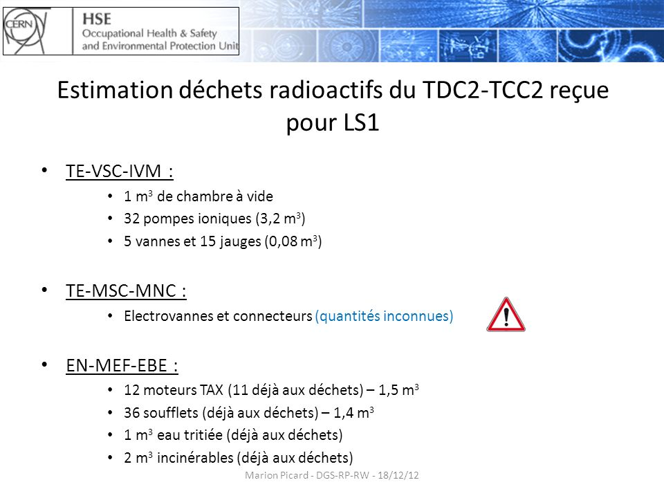 Estimation déchets radioactifs du TDC2-TCC2 reçue pour LS1 TE-VSC-IVM : 1 m 3 de chambre à vide 32 pompes ioniques (3,2 m 3 ) 5 vannes et 15 jauges (0