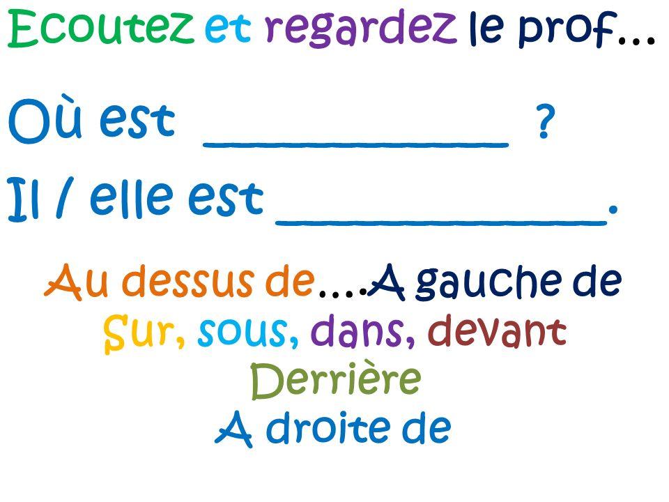 Ecoutez et regardez le prof… Où est ____________ ? Il / elle est _____________. Au dessus de….A gauche de Sur, sous, dans, devant Derrière A droite de