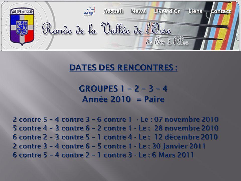 DATES DES RENCONTRES : GROUPES 1 – 2 – 3 – 4 Année 2010 = Paire 2 contre 5 – 4 contre 3 – 6 contre 1 - Le : 07 novembre 2010 5 contre 4 – 3 contre 6 –