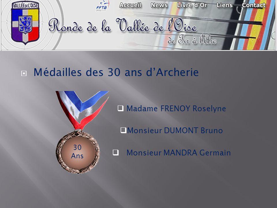 Médailles des 30 ans dArcherie Madame FRENOY Roselyne Monsieur DUMONT Bruno Monsieur MANDRA Germain 30 Ans