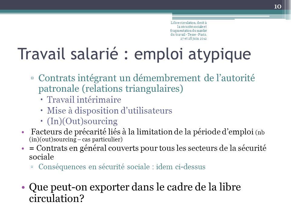 Travail salarié : emploi atypique Contrats intégrant un démembrement de lautorité patronale (relations triangulaires) Travail intérimaire Mise à dispo