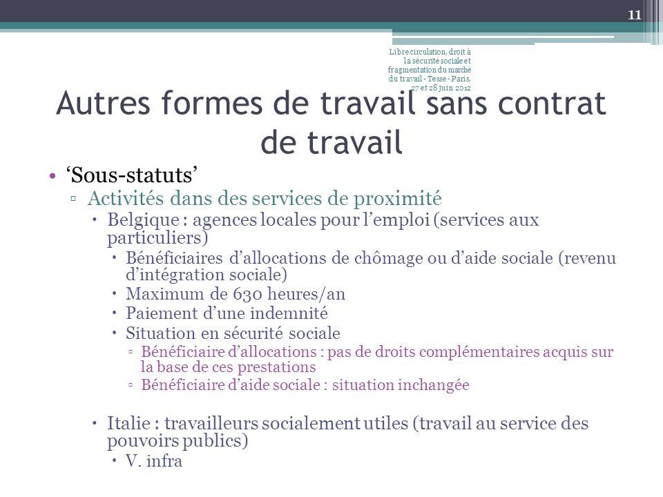 Autres formes de travail sans contrat de travail Sous-statuts Activités dans des services de proximité Belgique : agences locales pour lemploi (servic