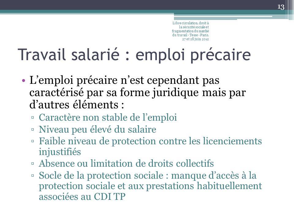 Travail salarié : emploi précaire Lemploi précaire nest cependant pas caractérisé par sa forme juridique mais par dautres éléments : Caractère non sta
