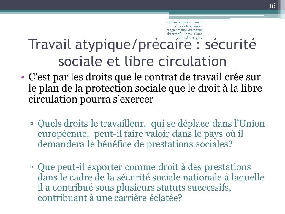 Travail atypique/précaire : sécurité sociale et libre circulation Cest par les droits que le contrat de travail crée sur le plan de la protection soci