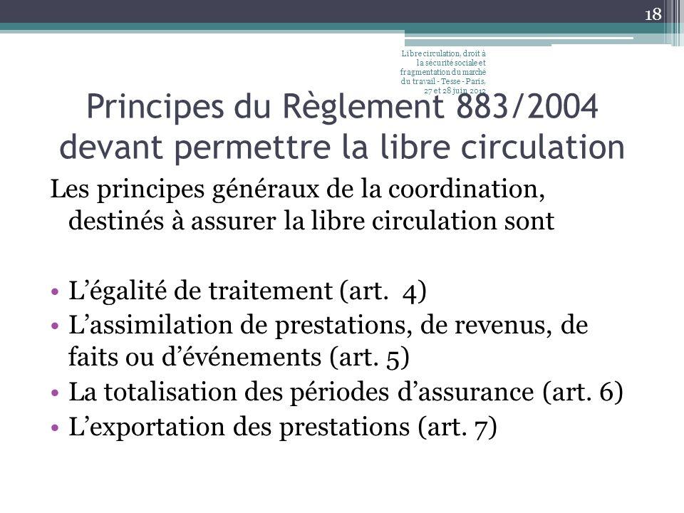 Principes du Règlement 883/2004 devant permettre la libre circulation Les principes généraux de la coordination, destinés à assurer la libre circulation sont Légalité de traitement (art.