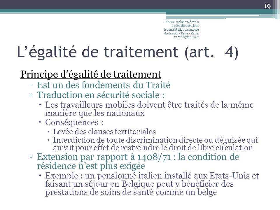 Lassimilation de prestations, de revenus, de faits ou dévénements (art.