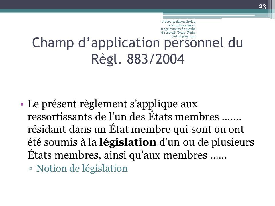 Champ dapplication personnel du Règl. 883/2004 Le présent règlement sapplique aux ressortissants de lun des États membres ……. résidant dans un État me