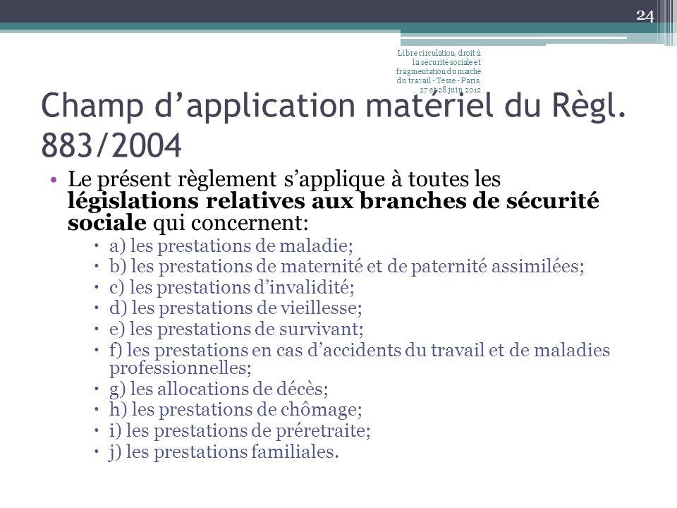 Champ dapplication matériel du Règl. 883/2004 Le présent règlement sapplique à toutes les législations relatives aux branches de sécurité sociale qui