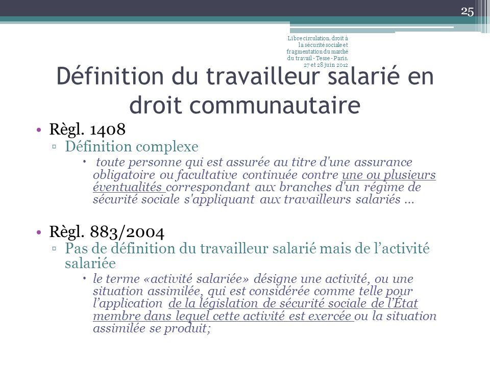 Définition du travailleur salarié en droit communautaire Règl. 1408 Définition complexe toute personne qui est assurée au titre d'une assurance obliga