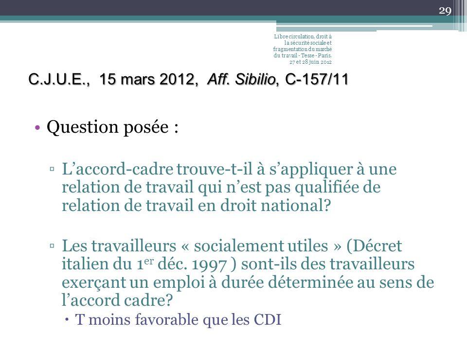 C.J.U.E., 15 mars 2012, Aff. Sibilio, C-157/11 Question posée : Laccord-cadre trouve-t-il à sappliquer à une relation de travail qui nest pas qualifié
