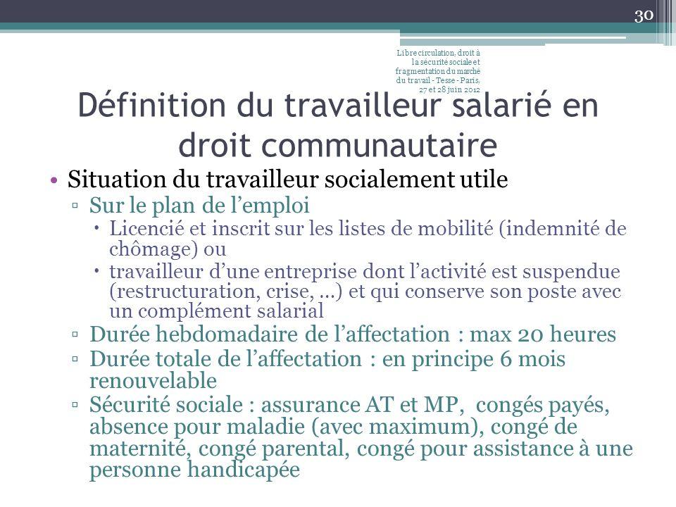 Définition du travailleur salarié en droit communautaire Situation du travailleur socialement utile Sur le plan de lemploi Licencié et inscrit sur les