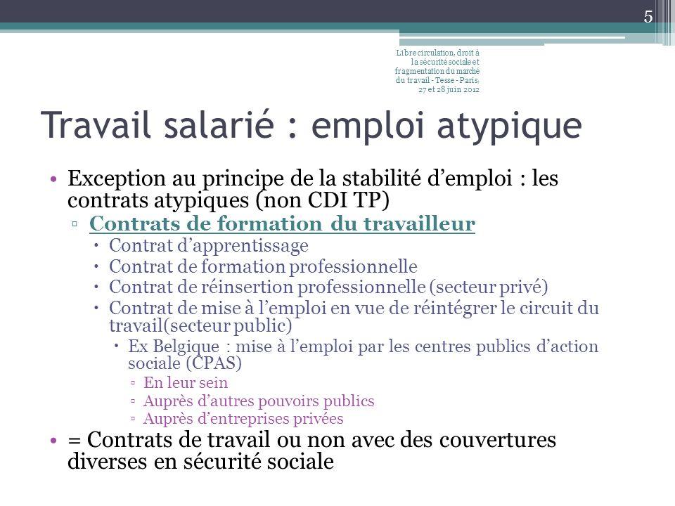 Travail salarié : emploi atypique Exception au principe de la stabilité demploi : les contrats atypiques (non CDI TP) Contrats de formation du travail