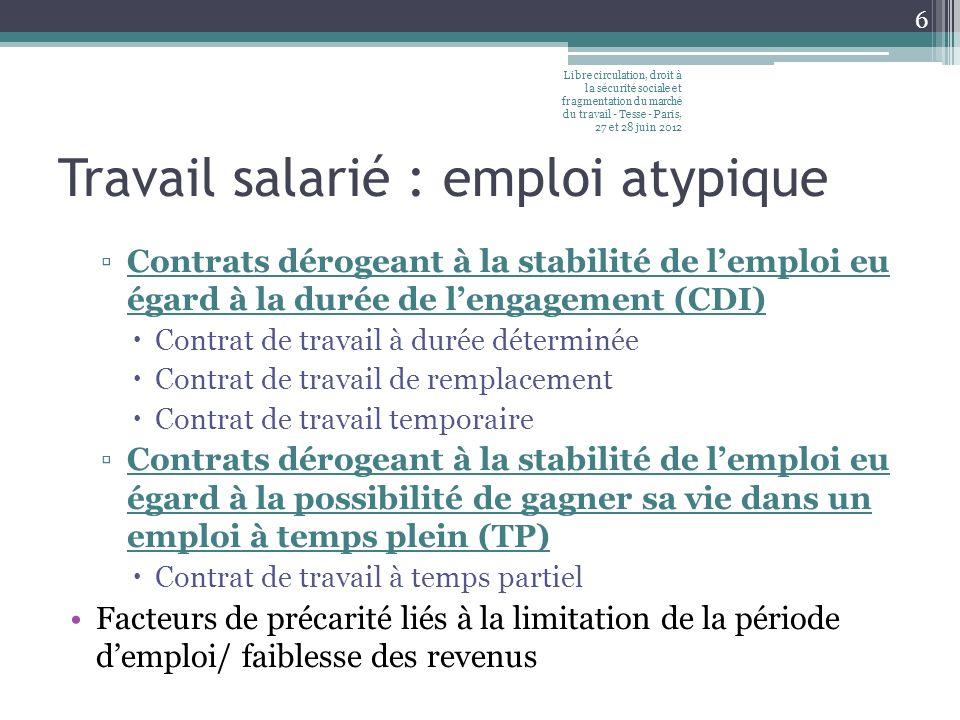 Travail salarié : emploi atypique Contrats dérogeant à la stabilité de lemploi eu égard à la durée de lengagement (CDI) Contrat de travail à durée dét