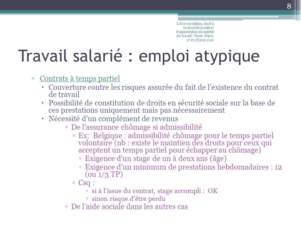 Travail salarié : emploi atypique Contrats à temps partiel Couverture contre les risques assurée du fait de lexistence du contrat de travail Possibilité de constitution de droits en sécurité sociale sur la base de ces prestations uniquement mais pas nécessairement Nécessité dun complément de revenus De lassurance chômage si admissibilité Ex: Belgique : admissibilité chômage pour le temps partiel volontaire (nb : existe le maintien des droits pour ceux qui acceptent un temps partiel pour échapper au chômage) Exigence dun stage de un à deux ans (âge) Exigence dun minimum de prestations hebdomadaires : 12 (ou 1/3 TP) Csq : si à lissue du contrat, stage accompli : OK sinon risque dêtre perdu De laide sociale dans les autres cas Libre circulation, droit à la sécurité sociale et fragmentation du marché du travail - Tesse - Paris, 27 et 28 juin 2012 8