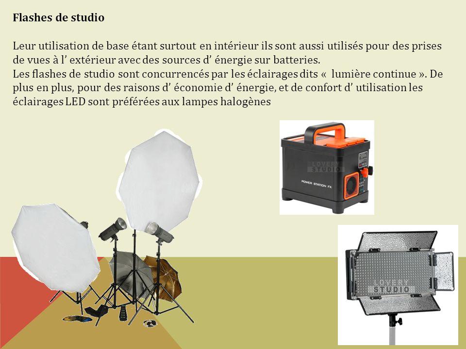 Flashes de studio Leur utilisation de base étant surtout en intérieur ils sont aussi utilisés pour des prises de vues à l extérieur avec des sources d