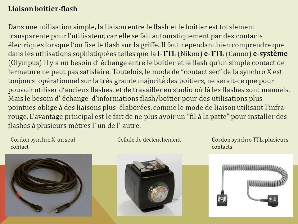 Liaison boitier-flash Dans une utilisation simple, la liaison entre le flash et le boitier est totalement transparente pour lutilisateur, car elle se