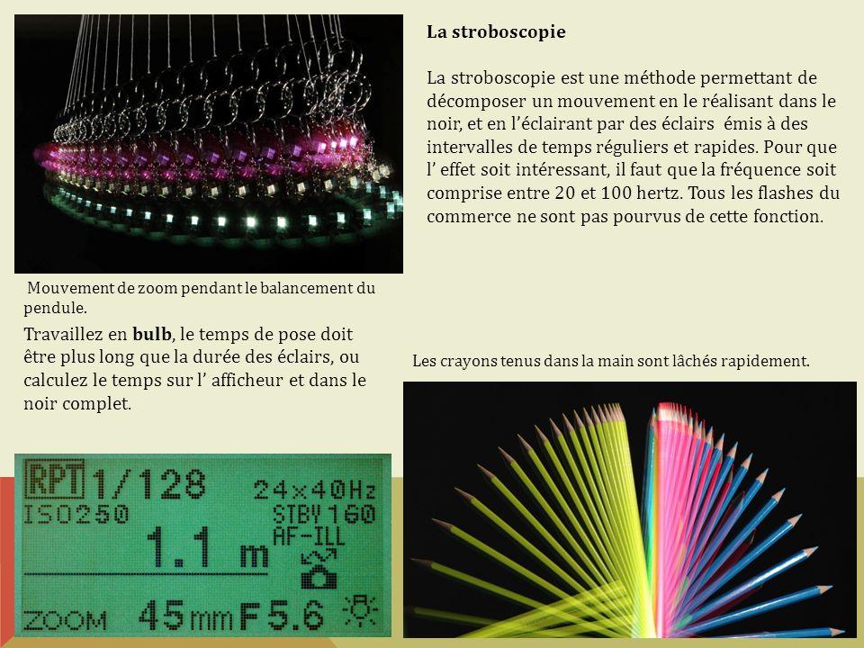 La stroboscopie La stroboscopie est une méthode permettant de décomposer un mouvement en le réalisant dans le noir, et en léclairant par des éclairs é