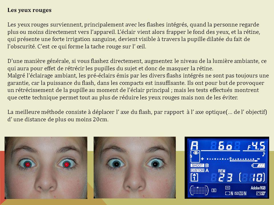 Les yeux rouges Les yeux rouges surviennent, principalement avec les flashes intégrés, quand la personne regarde plus ou moins directement vers lappar