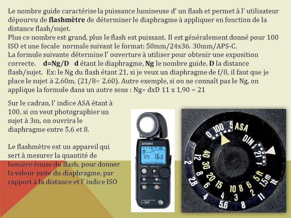 Le nombre guide caractérise la puissance lumineuse d un flash et permet à l utilisateur dépourvu de flashmètre de déterminer le diaphragme à appliquer