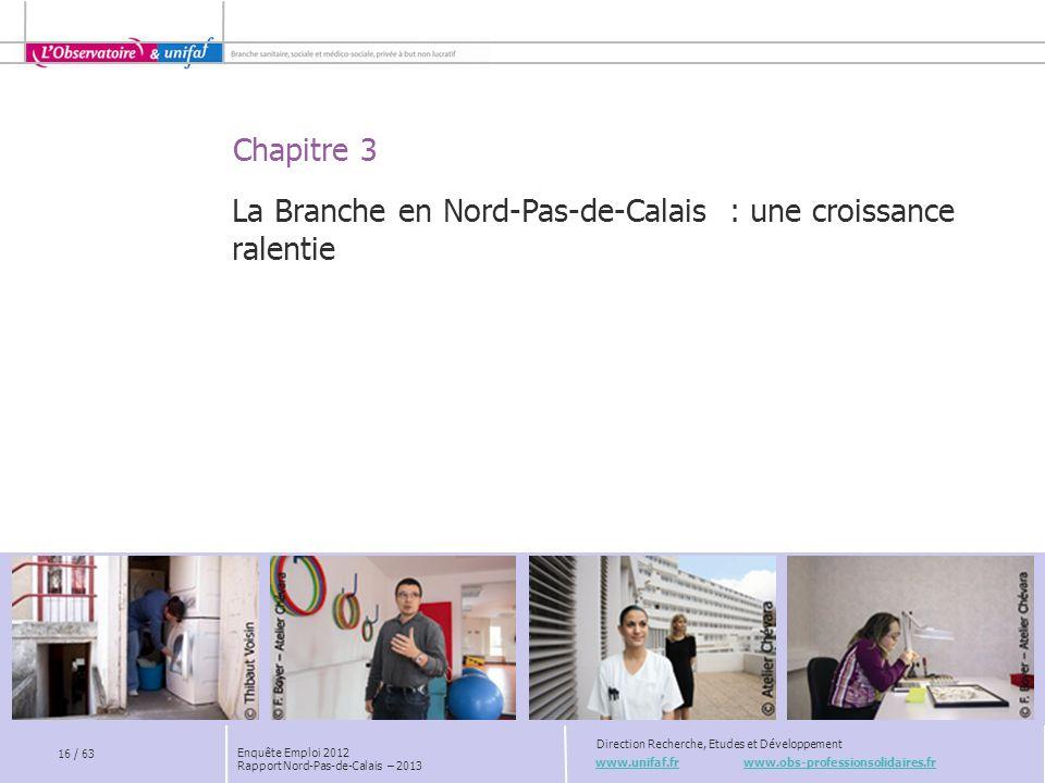 Chapitre 3 www.unifaf.fr www.obs-professionsolidaires.fr Direction Recherche, Etudes et Développement La Branche en Nord-Pas-de-Calais : une croissanc