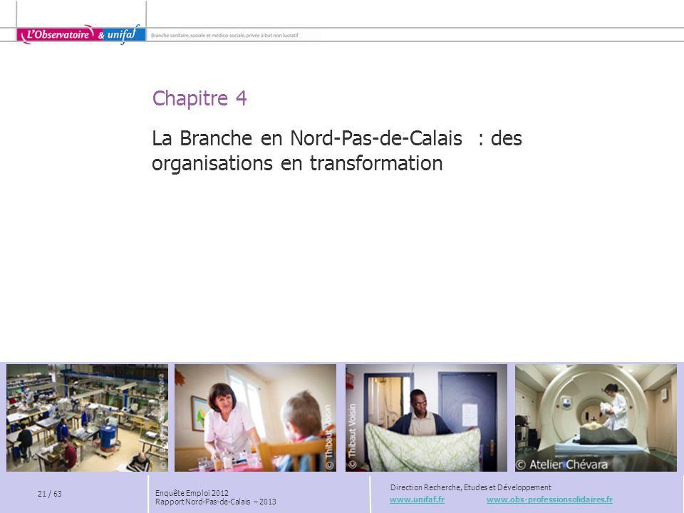 Chapitre 4 www.unifaf.fr www.obs-professionsolidaires.fr Direction Recherche, Etudes et Développement La Branche en Nord-Pas-de-Calais : des organisat