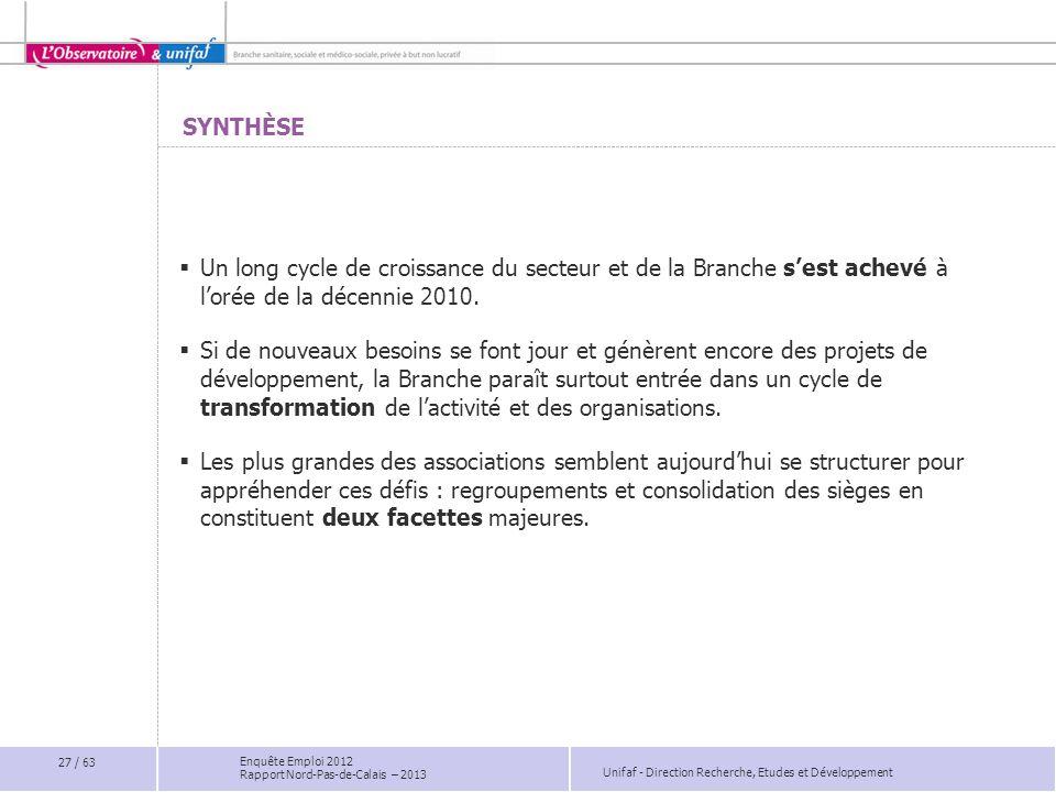 Unifaf - Direction Recherche, Etudes et Développement Enquête Emploi 2012 Rapport Nord-Pas-de-Calais – 2013 SYNTHÈSE Un long cycle de croissance du se