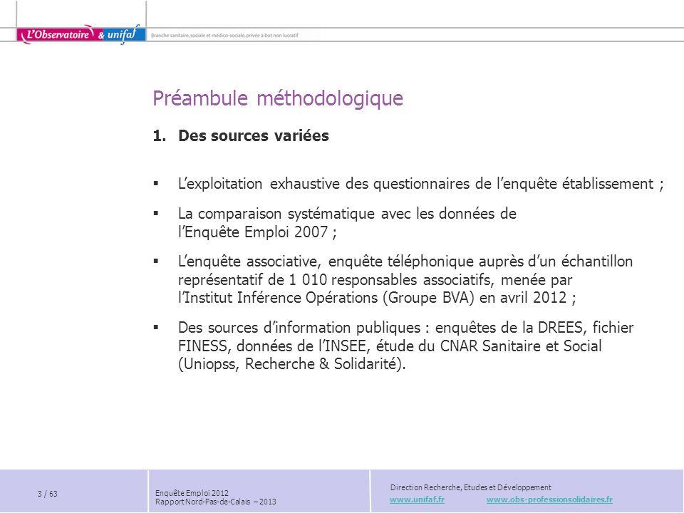 Chapitre 7 www.unifaf.fr www.obs-professionsolidaires.fr Direction Recherche, Etudes et Développement Enquête Emploi 2012 Rapport Nord-Pas-de-Calais – 2013 La Branche face au défi du recrutement 44 / 63