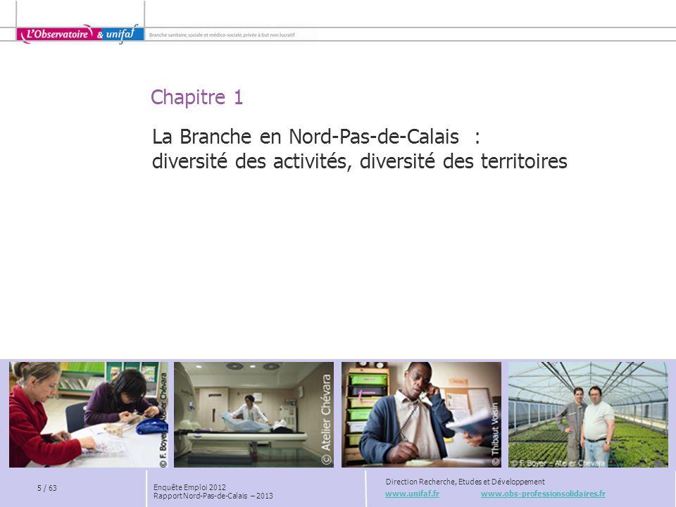 Chapitre 3 www.unifaf.fr www.obs-professionsolidaires.fr Direction Recherche, Etudes et Développement La Branche en Nord-Pas-de-Calais : une croissance ralentie 16 / 63 Enquête Emploi 2012 Rapport Nord-Pas-de-Calais – 2013