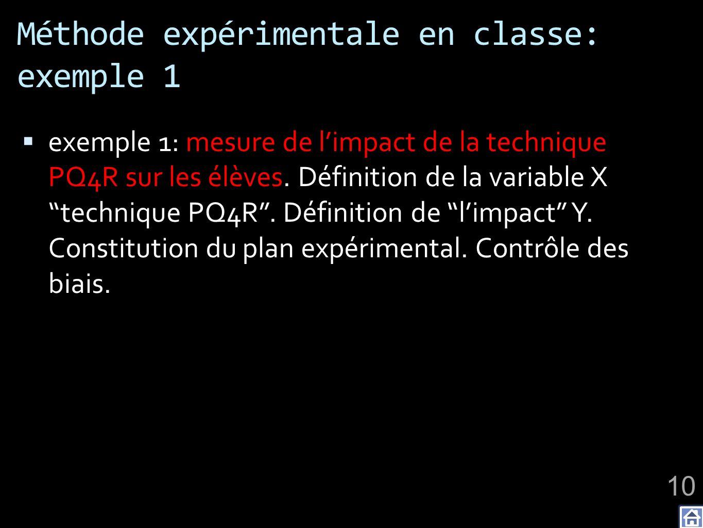 Méthode expérimentale en classe: exemple 1 exemple 1: mesure de limpact de la technique PQ4R sur les élèves. Définition de la variable X technique PQ4