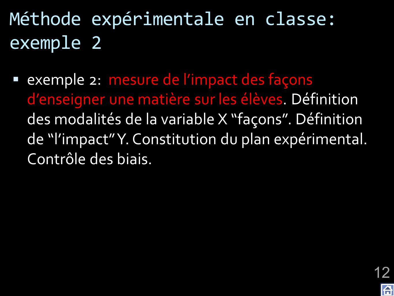Méthode expérimentale en classe: exemple 2 exemple 2: mesure de limpact des façons denseigner une matière sur les élèves. Définition des modalités de