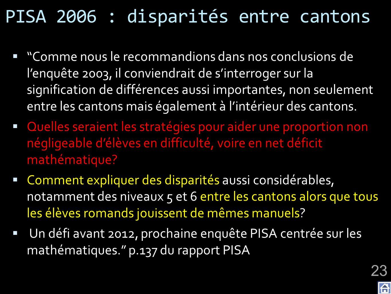 PISA 2006 : disparités entre cantons Comme nous le recommandions dans nos conclusions de lenquête 2003, il conviendrait de sinterroger sur la signification de différences aussi importantes, non seulement entre les cantons mais également à lintérieur des cantons.
