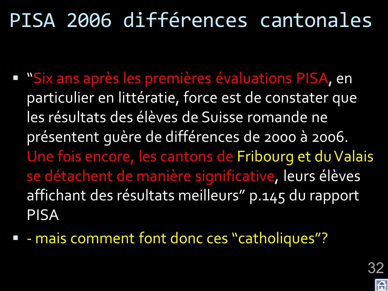 PISA 2006 différences cantonales Six ans après les premières évaluations PISA, en particulier en littératie, force est de constater que les résultats des élèves de Suisse romande ne présentent guère de différences de 2000 à 2006.