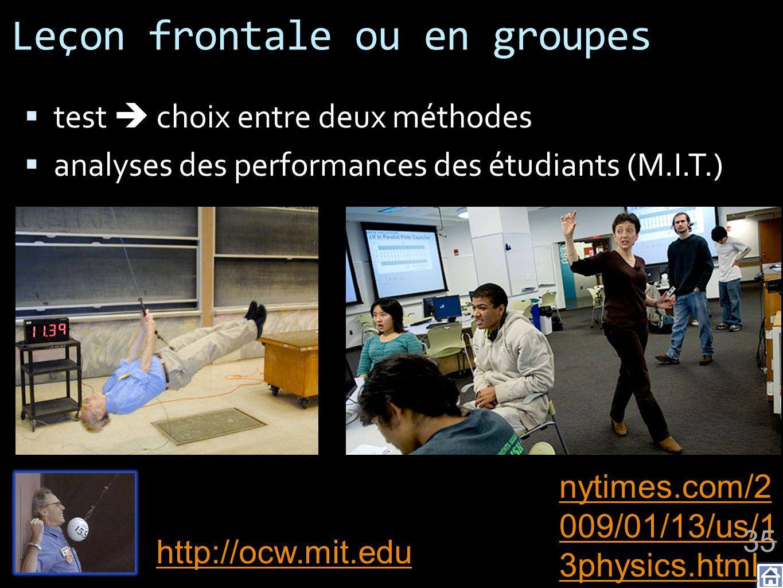 Leçon frontale ou en groupes test choix entre deux méthodes analyses des performances des étudiants (M.I.T.) nytimes.com/2 009/01/13/us/1 3physics.htm