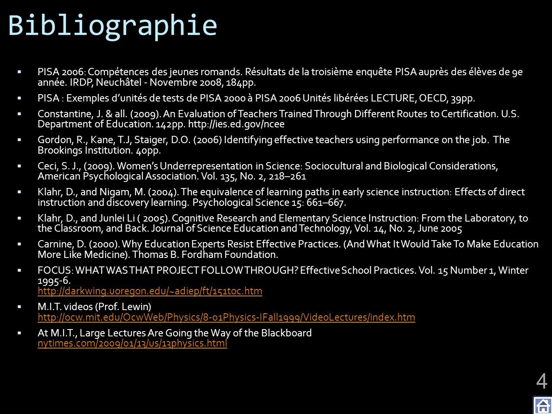 Bibliographie PISA 2006: Compétences des jeunes romands. Résultats de la troisième enquête PISA auprès des élèves de 9e année. IRDP, Neuchâtel - Novem