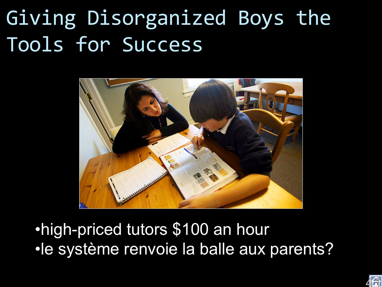 Giving Disorganized Boys the Tools for Success high-priced tutors $100 an hour le système renvoie la balle aux parents.