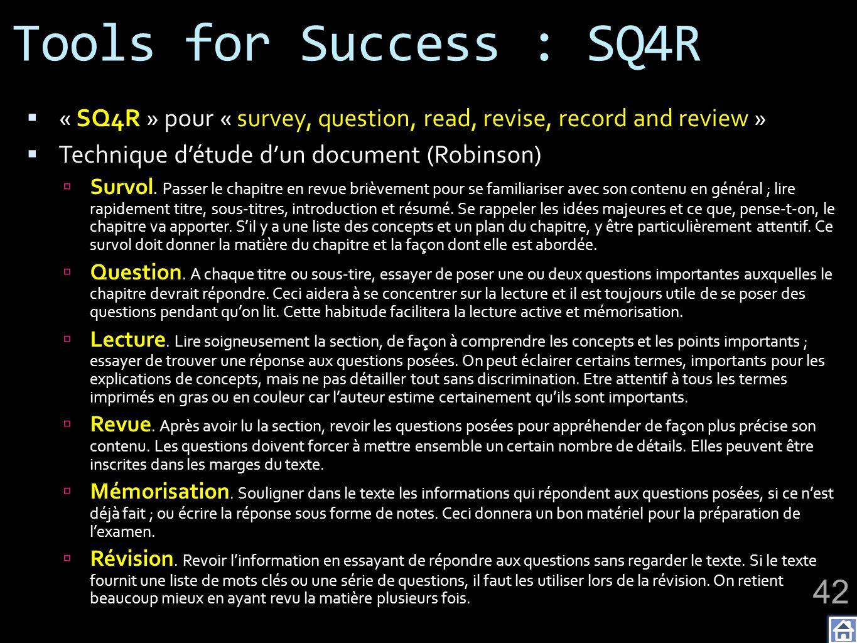 Tools for Success : SQ4R « SQ4R » pour « survey, question, read, revise, record and review » Technique détude dun document (Robinson) Survol. Passer l