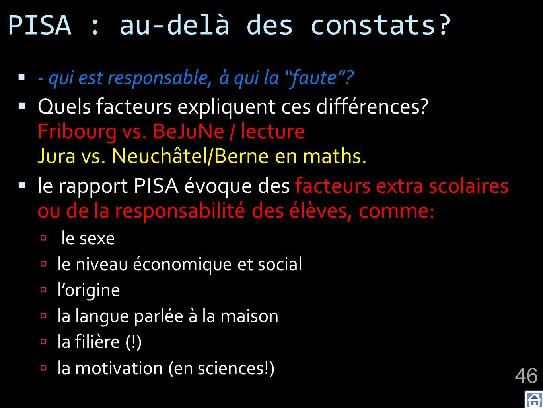 PISA : au-delà des constats? - qui est responsable, à qui la faute? Quels facteurs expliquent ces différences? Fribourg vs. BeJuNe / lecture Jura vs.