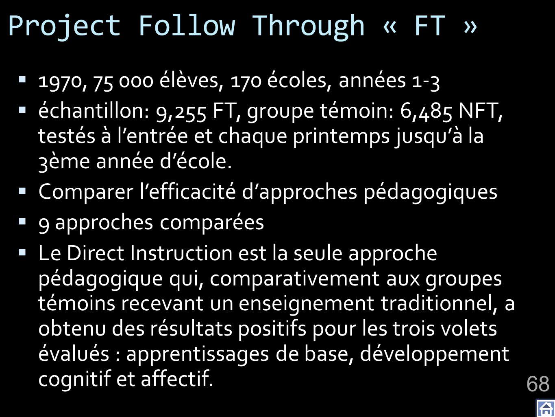 Project Follow Through « FT » 1970, 75 000 élèves, 170 écoles, années 1-3 échantillon: 9,255 FT, groupe témoin: 6,485 NFT, testés à lentrée et chaque printemps jusquà la 3ème année décole.