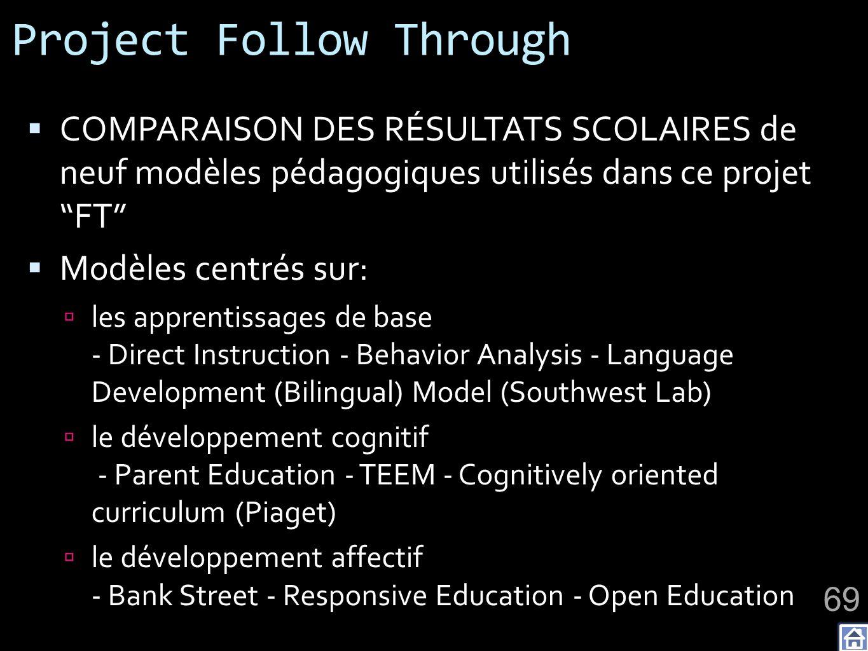 Project Follow Through COMPARAISON DES RÉSULTATS SCOLAIRES de neuf modèles pédagogiques utilisés dans ce projet FT Modèles centrés sur: les apprentissages de base - Direct Instruction - Behavior Analysis - Language Development (Bilingual) Model (Southwest Lab) le développement cognitif - Parent Education - TEEM - Cognitively oriented curriculum (Piaget) le développement affectif - Bank Street - Responsive Education - Open Education 69