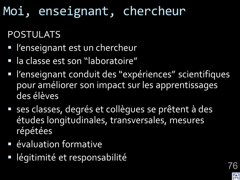 Moi, enseignant, chercheur POSTULATS lenseignant est un chercheur la classe est son laboratoire lenseignant conduit des expériences scientifiques pour