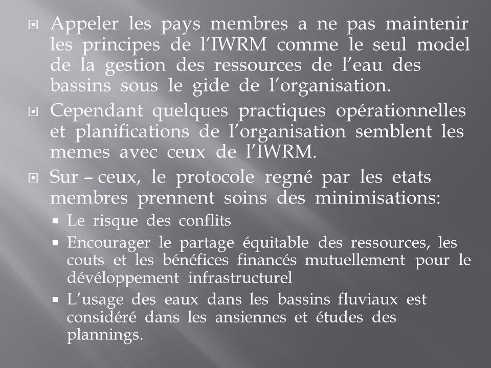 Appeler les pays membres a ne pas maintenir les principes de lIWRM comme le seul model de la gestion des ressources de leau des bassins sous le gide de lorganisation.